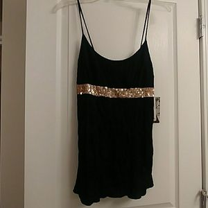 Rampage tank top black with gold sequins